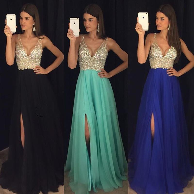 New Arrival Prom Dress,Modest Prom Dress,sparkly crystal beaded v ...