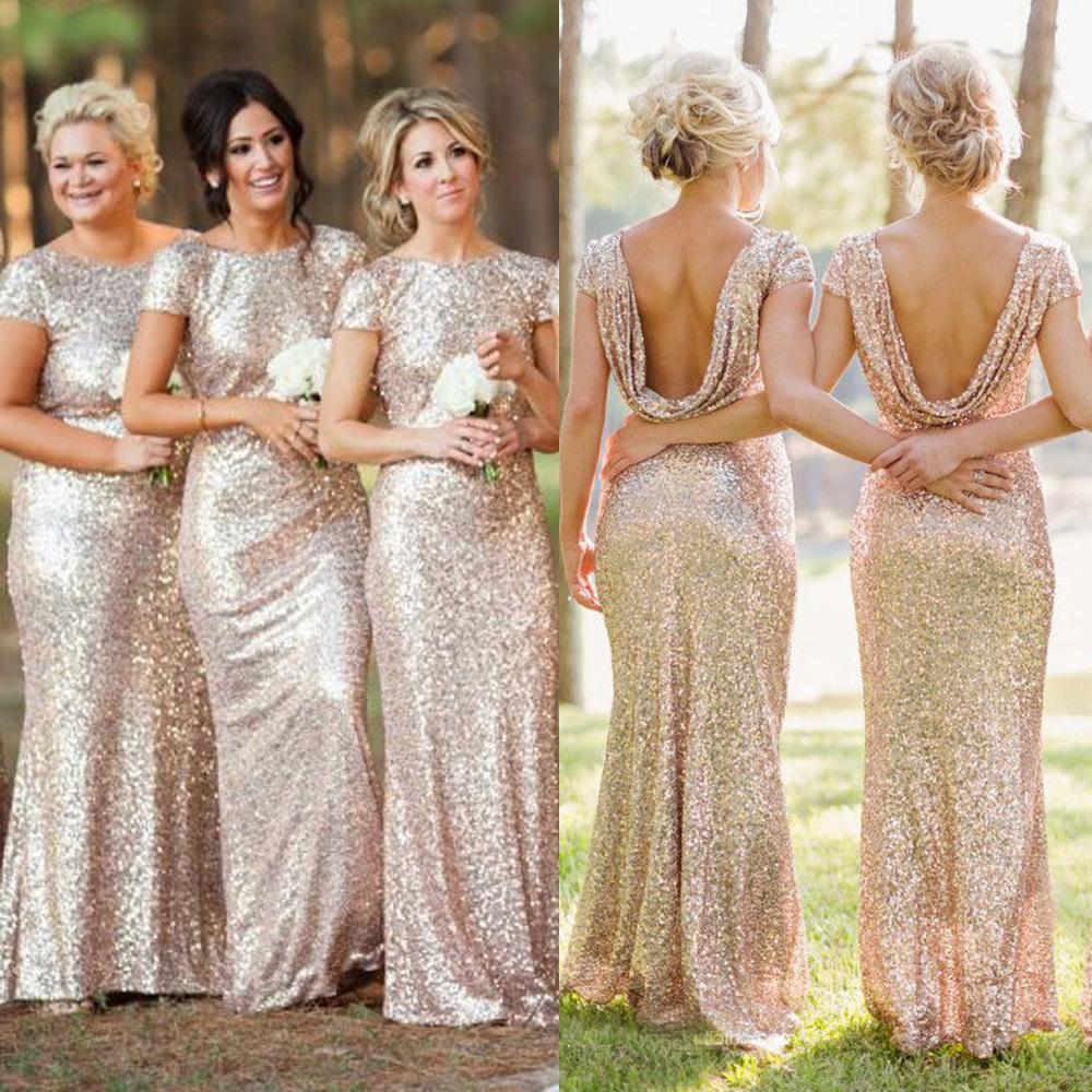 E214 Sequin Shiny Open Back Bridesmaid Dresses,Long Bridesmaids ...