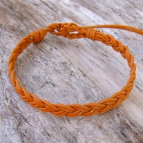 Braided Marigold Adjustable Leather Bracelet