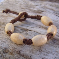 Macrame Brown Hemp Bracelet with Wood Beads