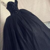 black tulle corset puffy tulle long prom gowns sweetheart