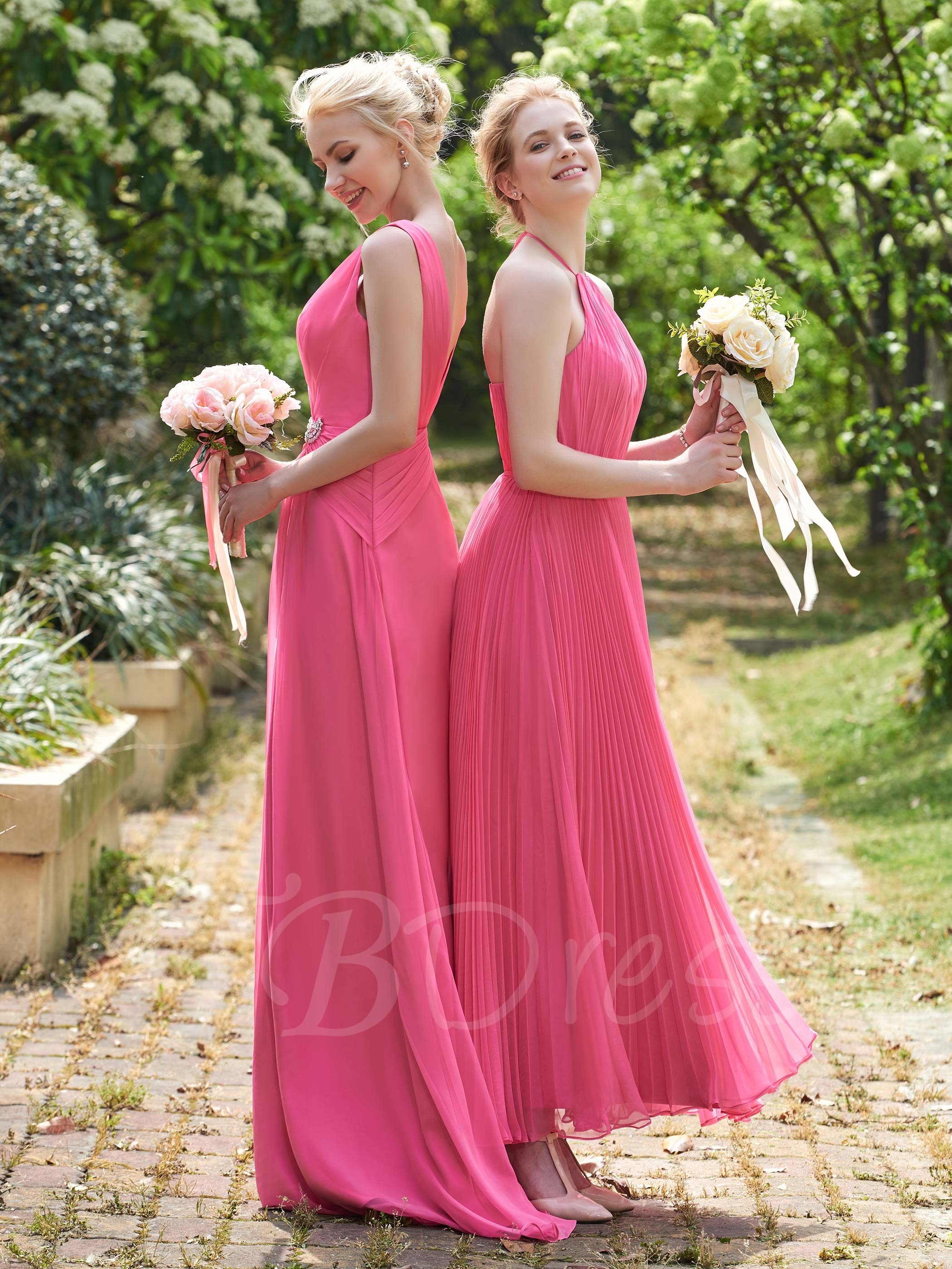 F199 Halter A Line Ankle-Length Prom Gowns,Simple Bridesmaid Dresses ...