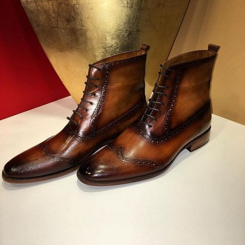 handmade men brown lace up leather boot men brown ankle