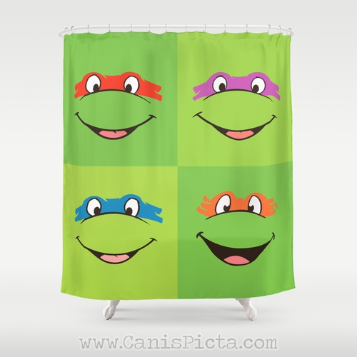 TMNT Shower Curtain 71 X 74 Decorative TV Pop Culture Humor Lime Minimalist Funny