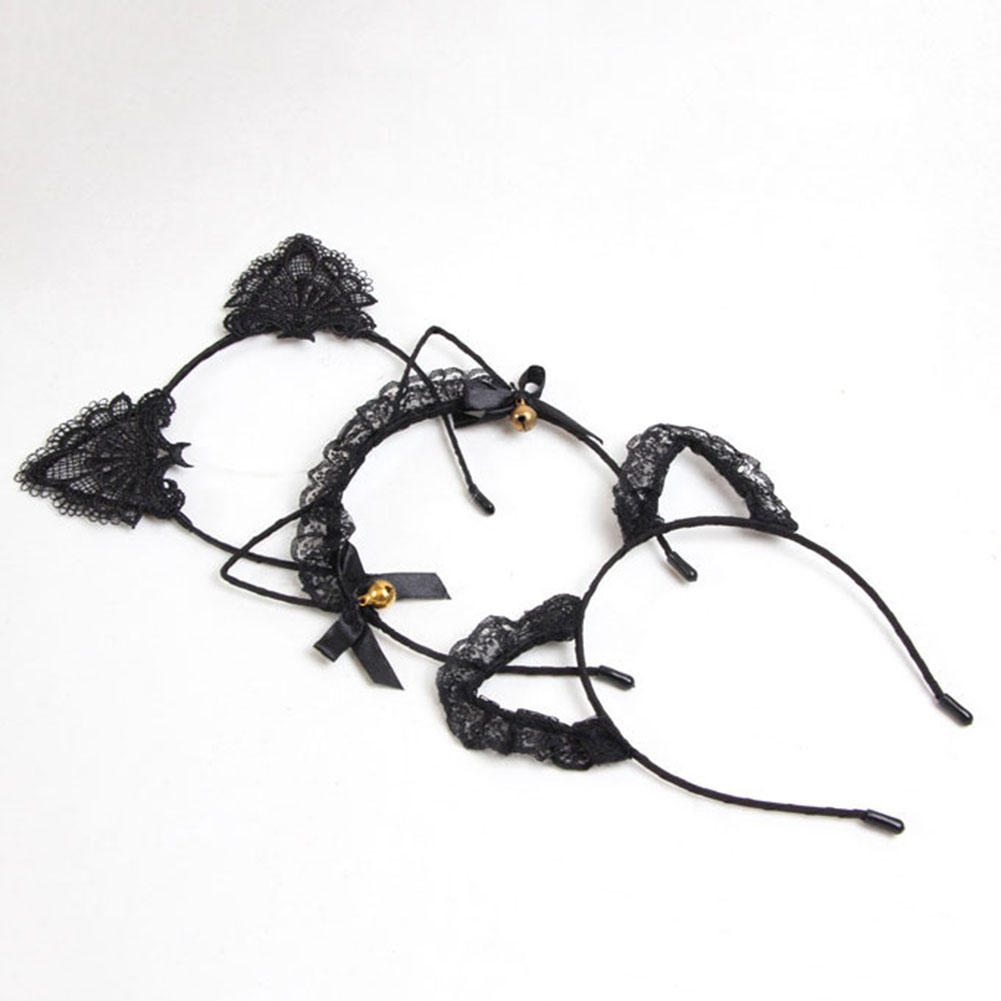 kawaii black cat ears lace headband alice hair band goth · Tokimeki ...