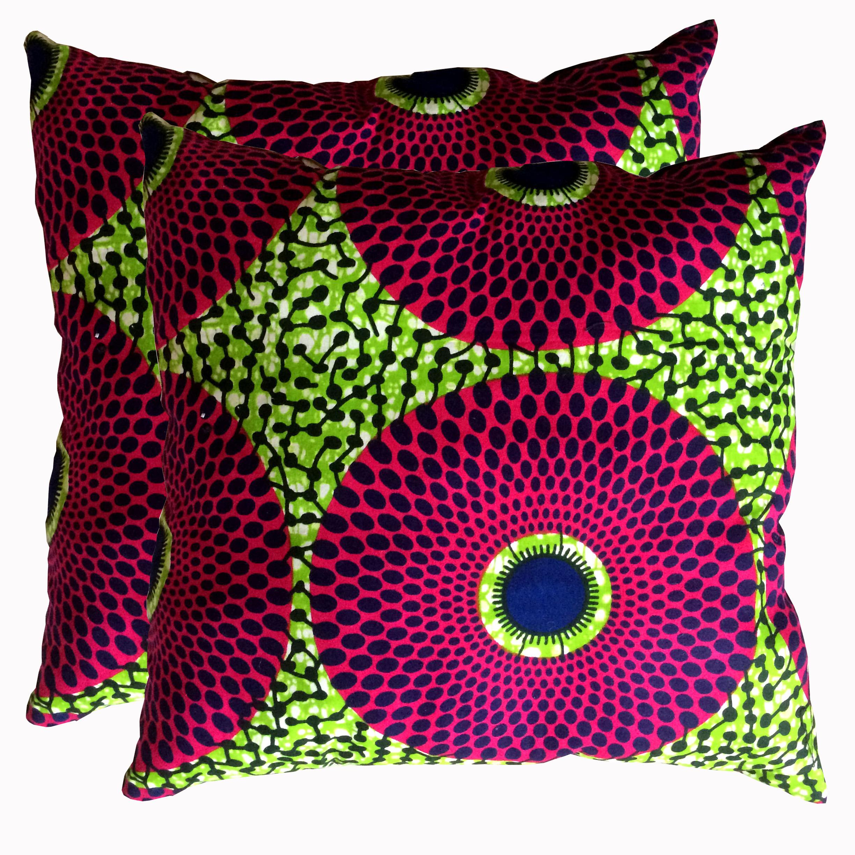 Ankara African Wax Print Sofa Throw Pillow Cushion Cover Complete