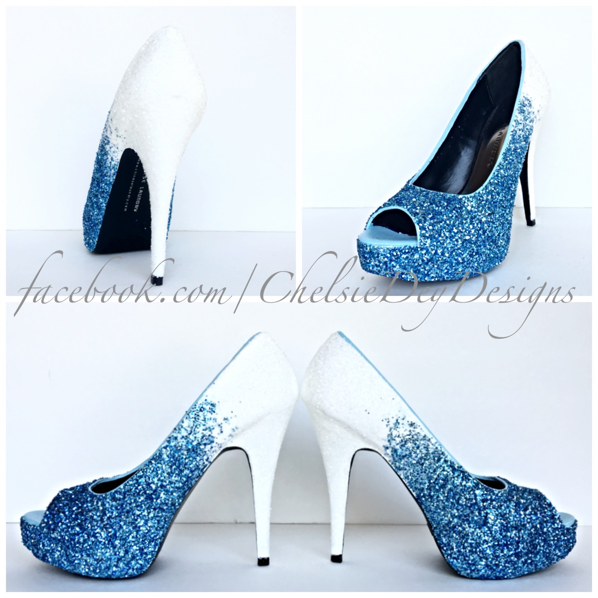 Glitter High Heels   Ocean Blue White Ombre   Peep Toe Pumps   Blue Wedding  Shoes