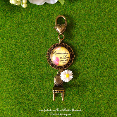 """remember to love yourself too"" vintage chic bag charm"