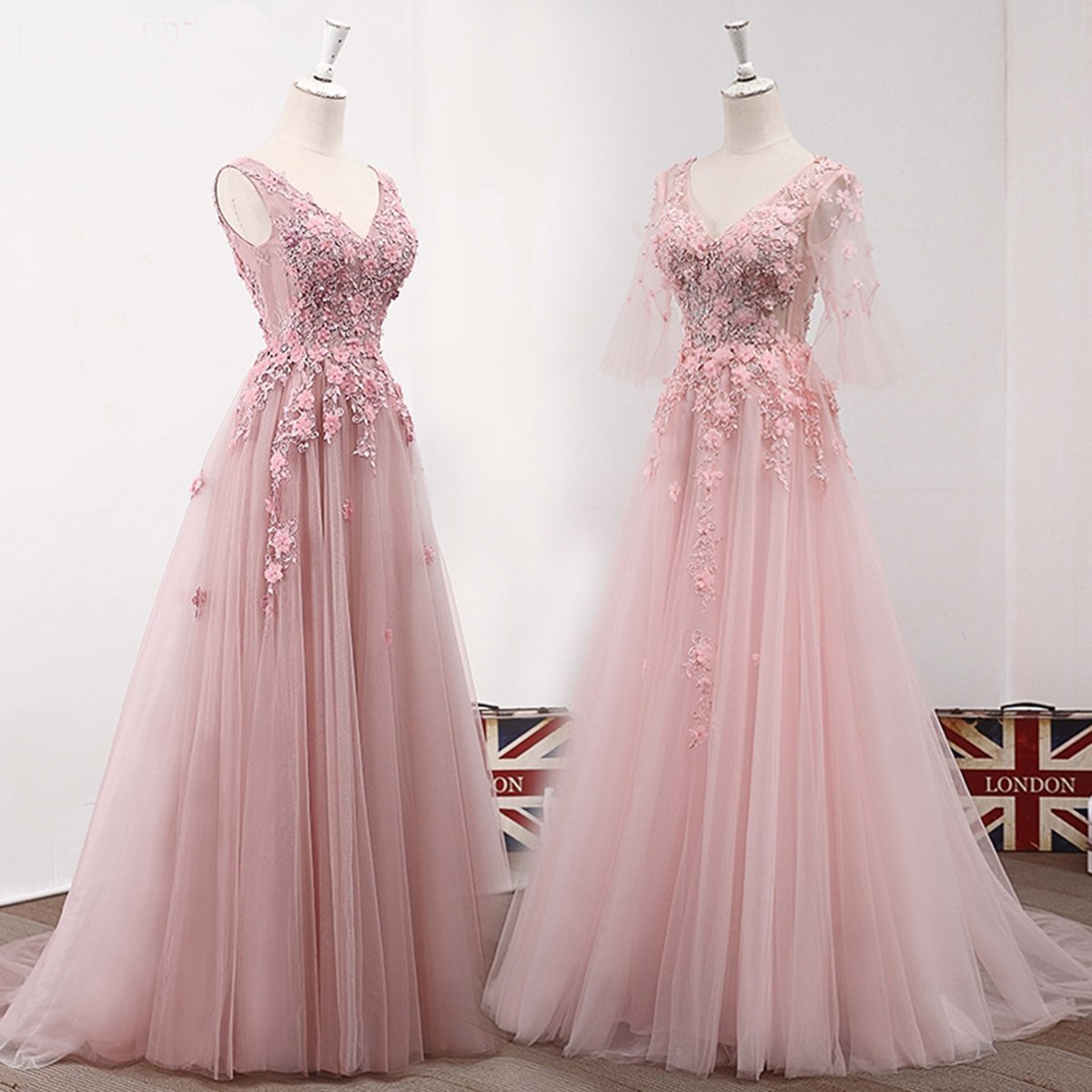 Pink tulle V neck long lace appliques A-line prom dress | QPromDress ...