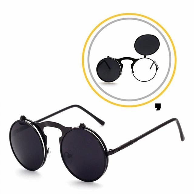 Retro Sunglasses Steam Punk Sunglasses Round Metal Frames Sun ...
