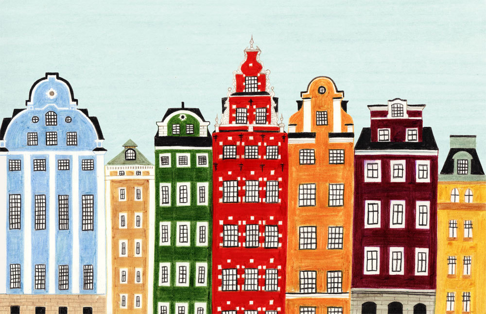 Stockholm, Sweden Scandinavian Skyline Illustration Print ...