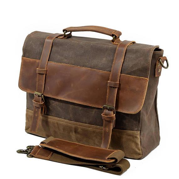 eda39b9148c2 Leather Messenger Bag, Waxed Canvas Messenger Bag, Mens Laptop Messenger Bag,  Womens Laptop