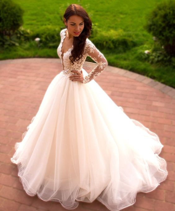 Ball Gown Long Lace Tulle Ivory Wedding Dresses With Sleeves,Elegant ...