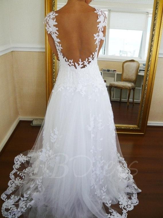 W188 Floor-Length A-Line Tulle Lace Backless Beach Wedding Dress ...