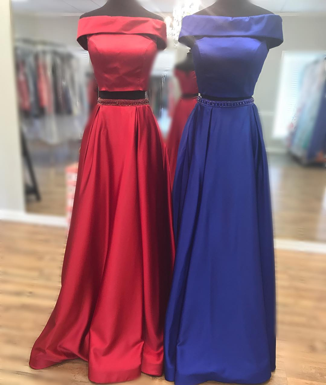Two Piece Prom Dress, Red Long Prom Dress, Royal Blue Prom Dress ...