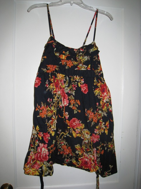 Xhiliration Floral and Navy Dress