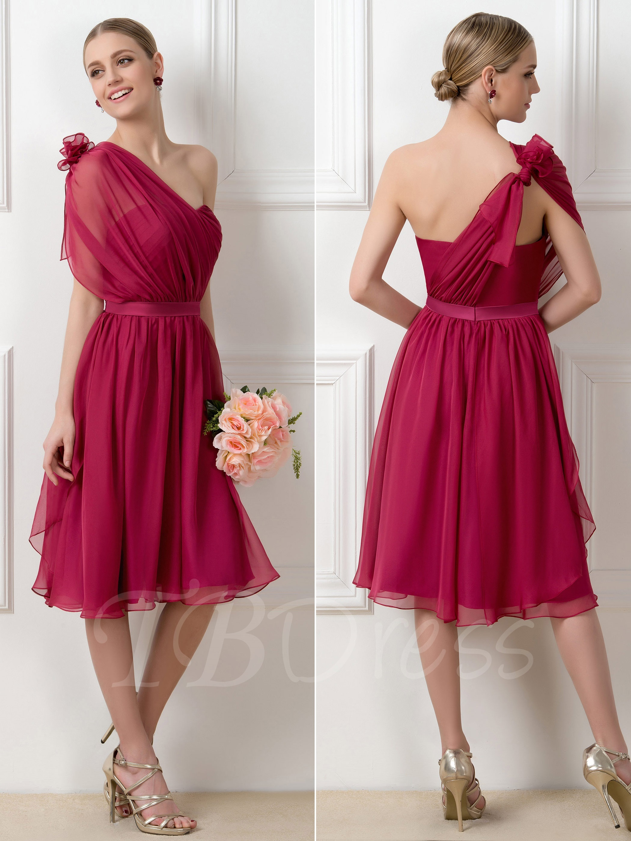 67ef15d5ebb3 W312 A-Line Tea-Length Convertible Short Bridesmaid Dress ...