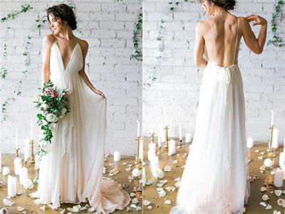 Elegant Ivory Chiffon Long Beach Wedding Dresses Flowy
