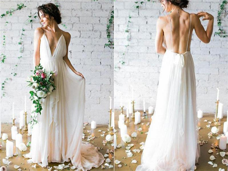 Elegant Ivory Chiffon Long Beach Wedding DressesFlowy Spaghetti Straps V Neck Dresses