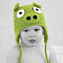 Green Pig Angry Bird Inspired Handmade Crochet Hat