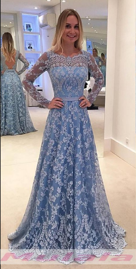 Full Lace Evening Dress,Long Sleeve Evening Gowns,A Line Prom Dress ...