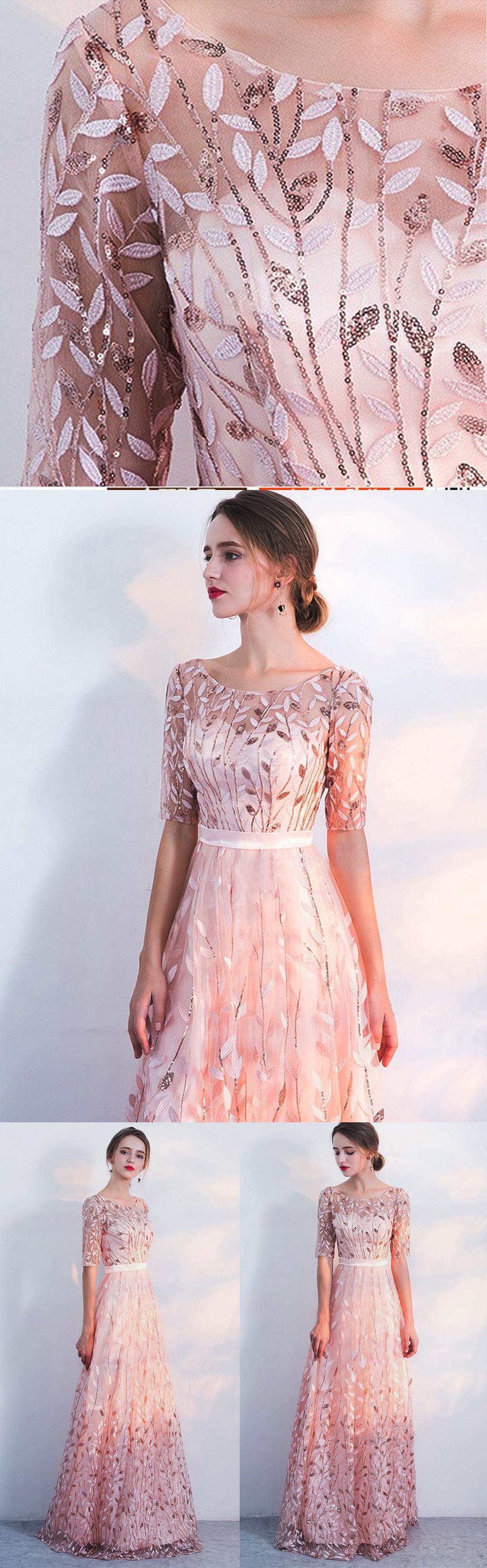 Unique sequin appliques prom dress.Half sleeve a-line prom ...