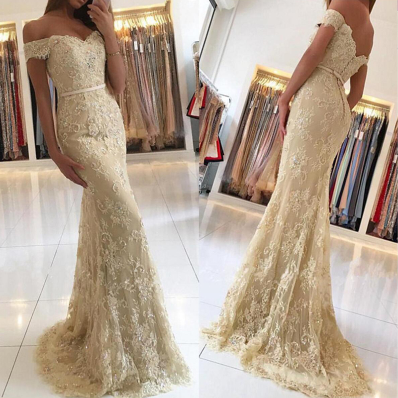 Gold Off Shoulder Lace Mermaid Evening Prom Dresses Sexy Gold Lace