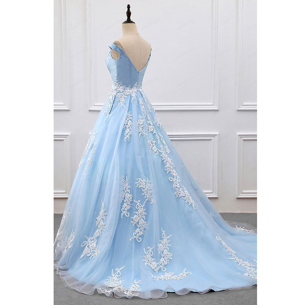 Elegant Light Blue Off Shoulder Ball Gown Prom Dress,Wedding Party ...