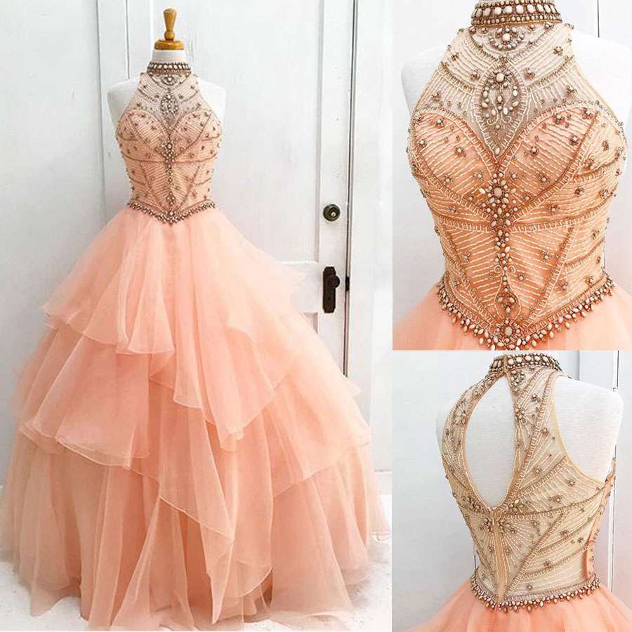 Ball Gown Halter High Neck Prom Dresses,Quinceanera Dresses,Sweet 16 ...