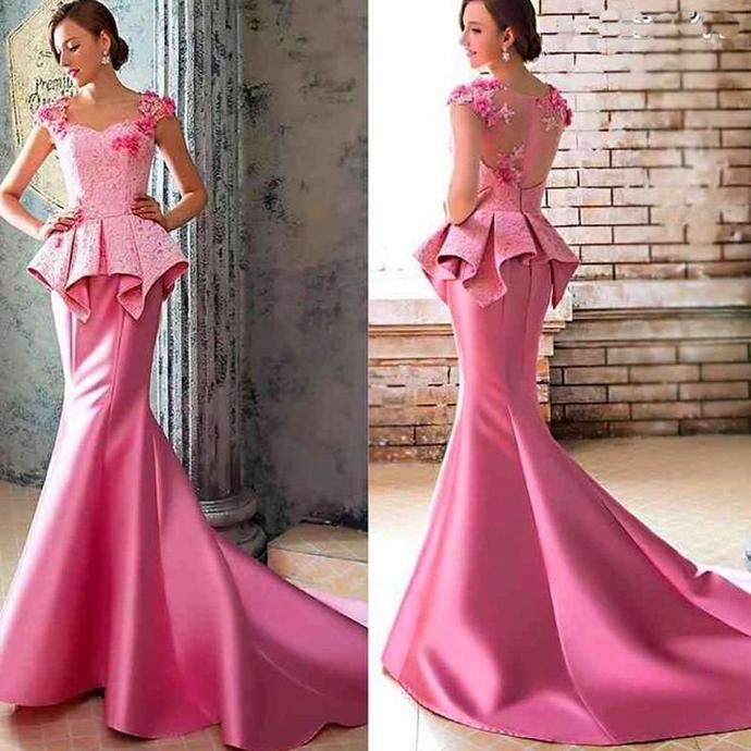 Hot Pink Formal Dresses 2018 Charming Evening Dress Mermaid Evening