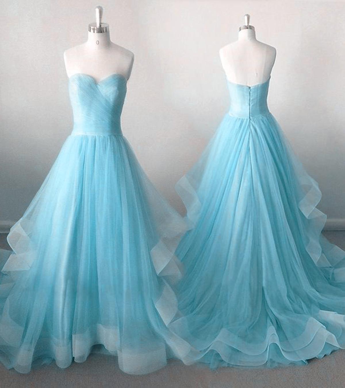 Strapless ice blue tulle sweetheart neckline long prom dress, long ...