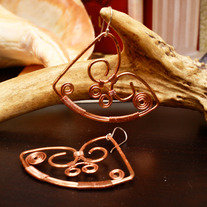 Handmade Copper Wire Heart Earrings