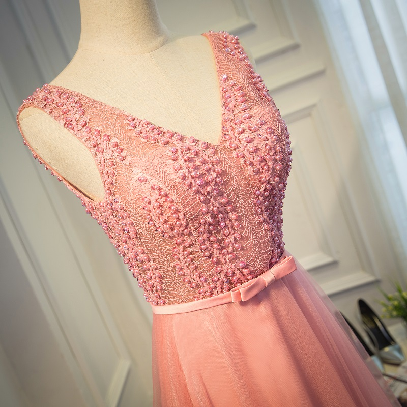 Sexy Beaded Pink Evening prom dress, long prom dress, 2017 prom ...