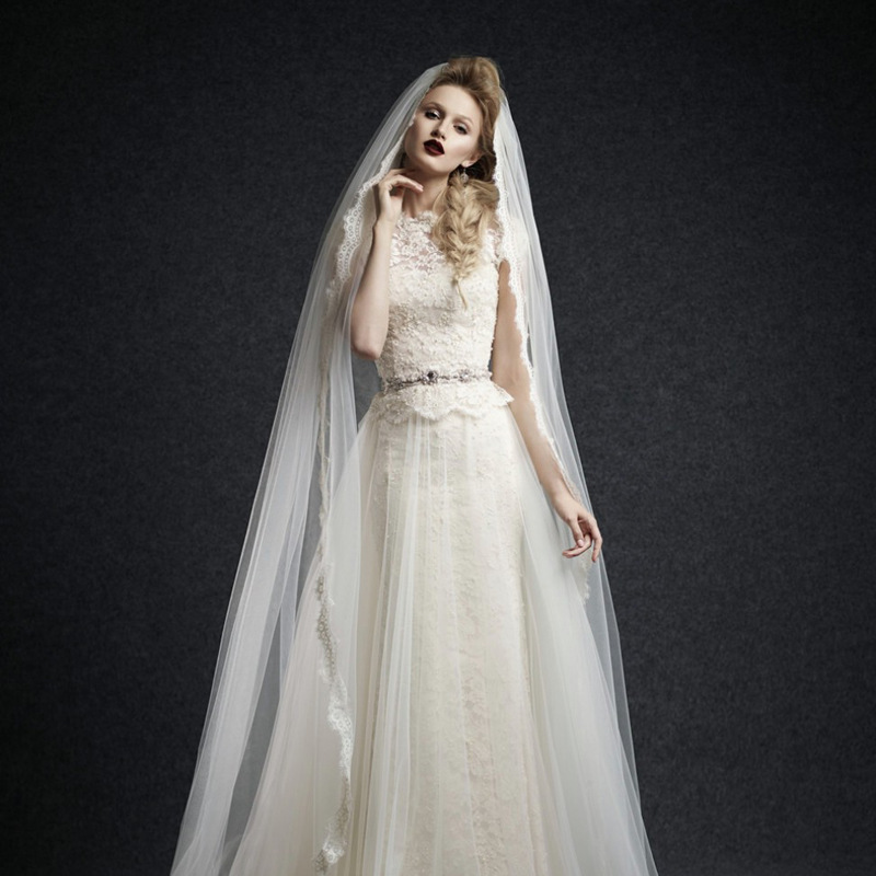 W211 Empire A Line Wedding Bridla Gown,Cap Sleeve Lace Appliques ...