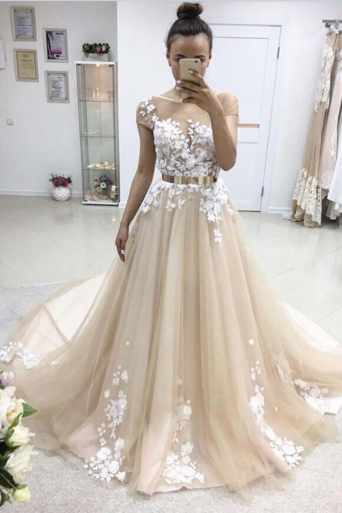 2018 spring A-line long short sleeves senior prom dresses with gold ...