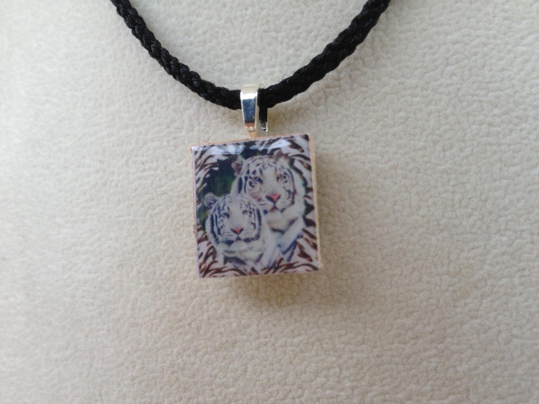 scrabble tile pendant necklace white tiger 183 knotjustknots
