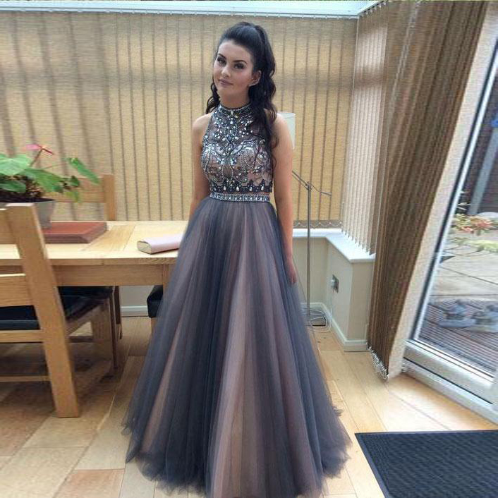 Two Piece High Neck Formal Evening Gown,Open Back Prom Dress With ...