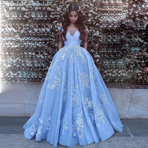 Gorgeous light blue off the shoulder ball gown prom dress for Light blue wedding dress meaning