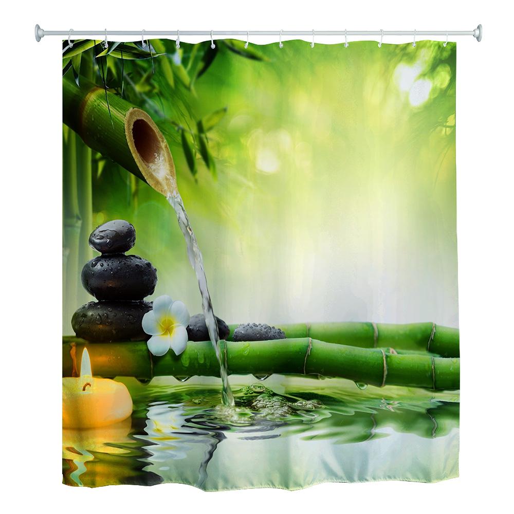 180 x 180cm zen water bamboo 3d printed shower curtain for Image galet zen