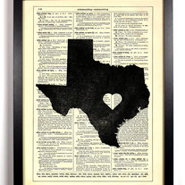 Image of I Love Texas State, Vintage Dictionary Print, 8 x 10