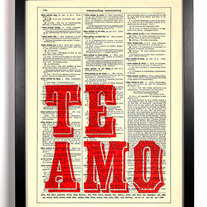 Image of Te Amo, Vintage Dictionary Print, 8 x 10