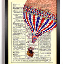 Image of The Drifter, Hot Air Balloon, Vintage Dictionary Print, 8 x 10