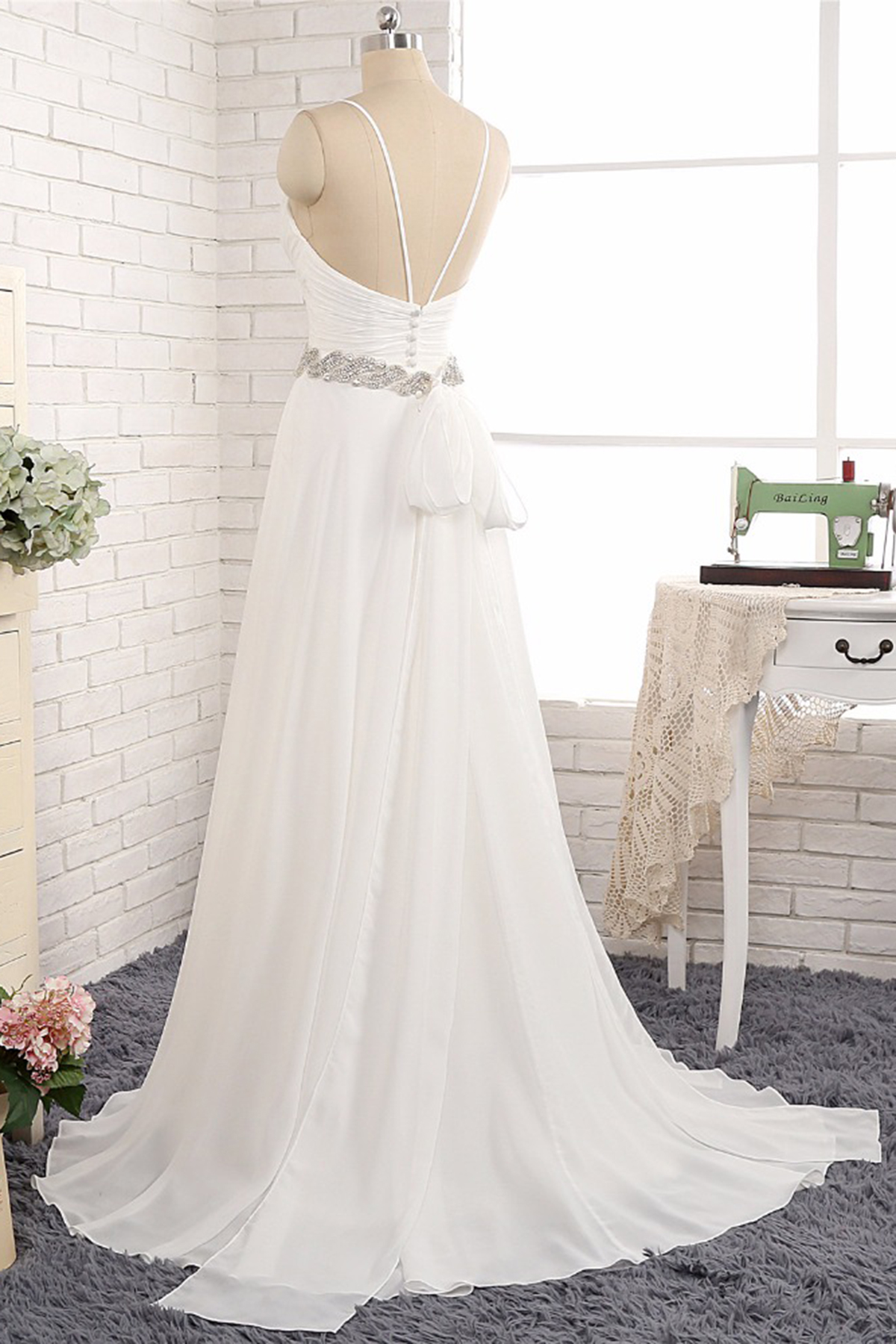 New Backless White Chiffon Long Wedding Gown, Long Beaded Belt Prom Dress    Thumbnail 1 ...