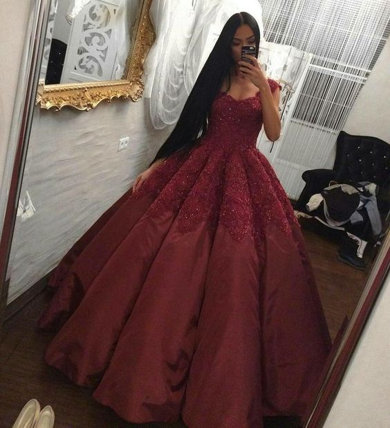 new fashions ball gown lace Prom dresses Formal Dress burgundy Prom ...