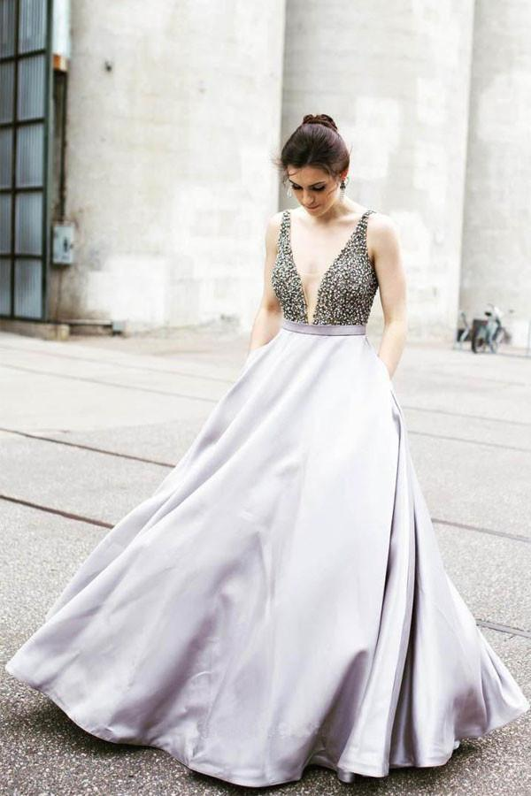 Charming V-Neckline Beaded Prom Dress,2018 Sleeveless Prom Dress ...