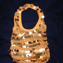 Large Sequin and Beaded Knit Sack Bag - 199HB