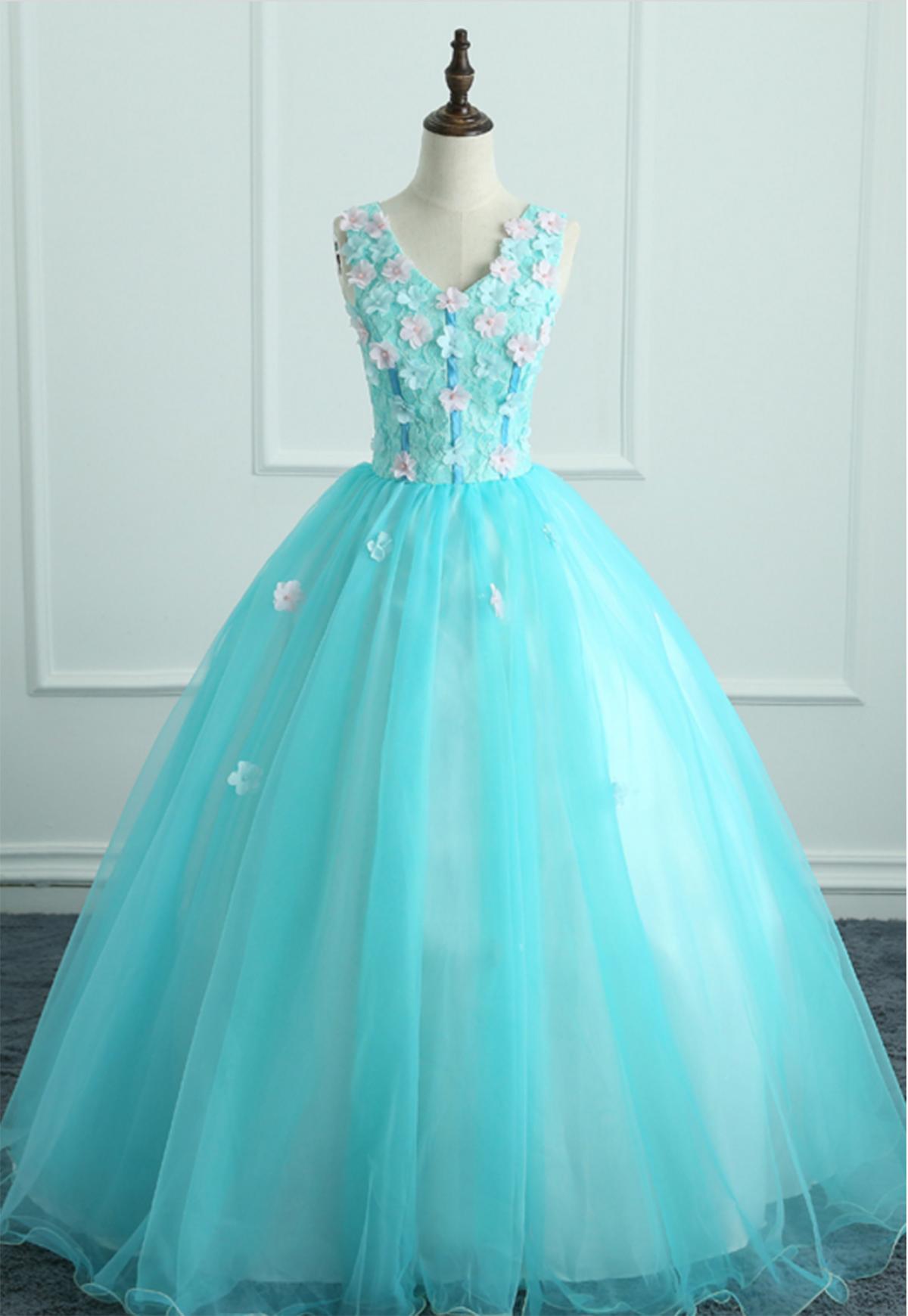 Cute blue tulle 3D flower long A-line halter sweet 16 prom dresses ...