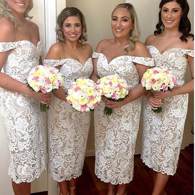 Cap Sleeves Venice Bridesmaid Dresses Sheath Short Bridesmaids ...