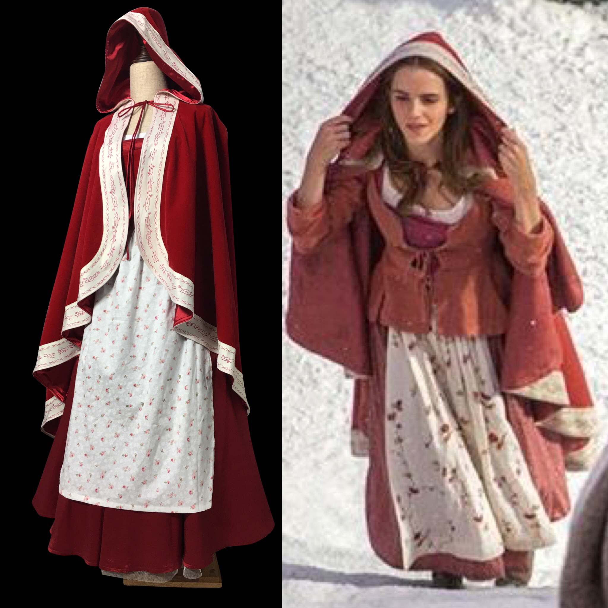 P117 Live Action 2017 Belle Beauty And The Beast Cape Cloak Dress Full Set