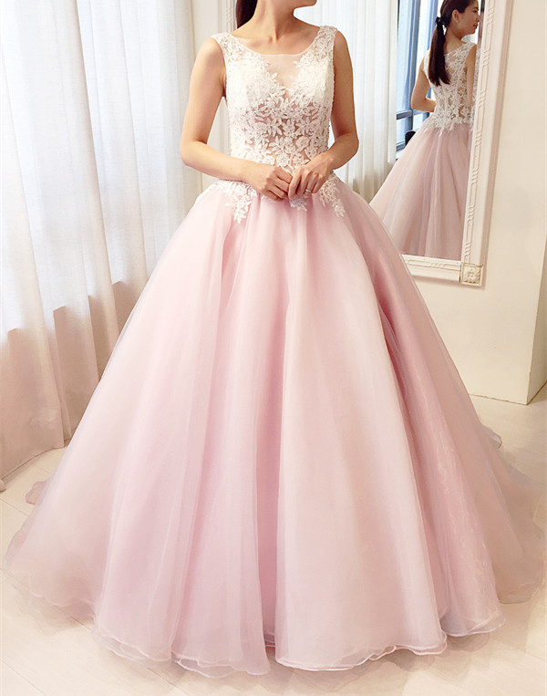 Pink Ball Gown Lace Party Gowns, Gorgeous Pink Prom Dresses, Sweet ...